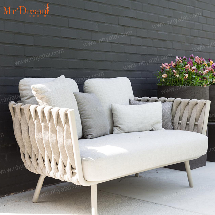 Mr.Dream European style rope woven aluminum hotel patio garden furniture outdoor sets