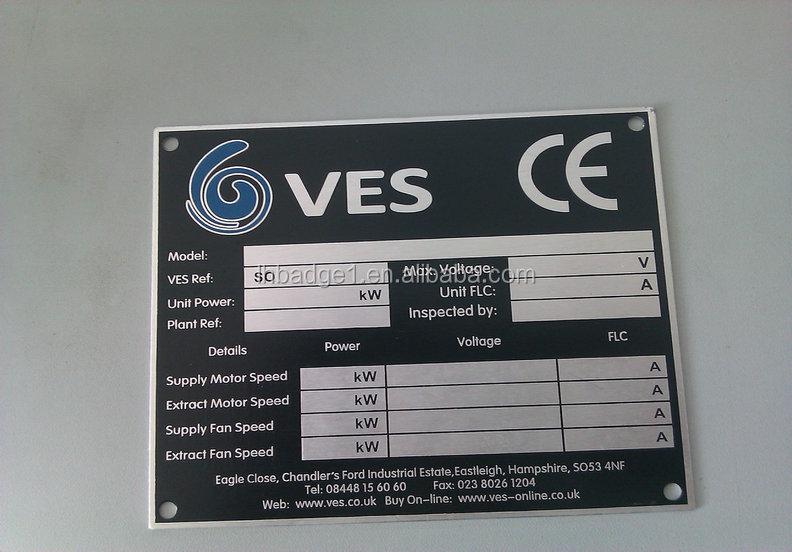 Metal Machine Label Custom Aluminum Printing Name Plate