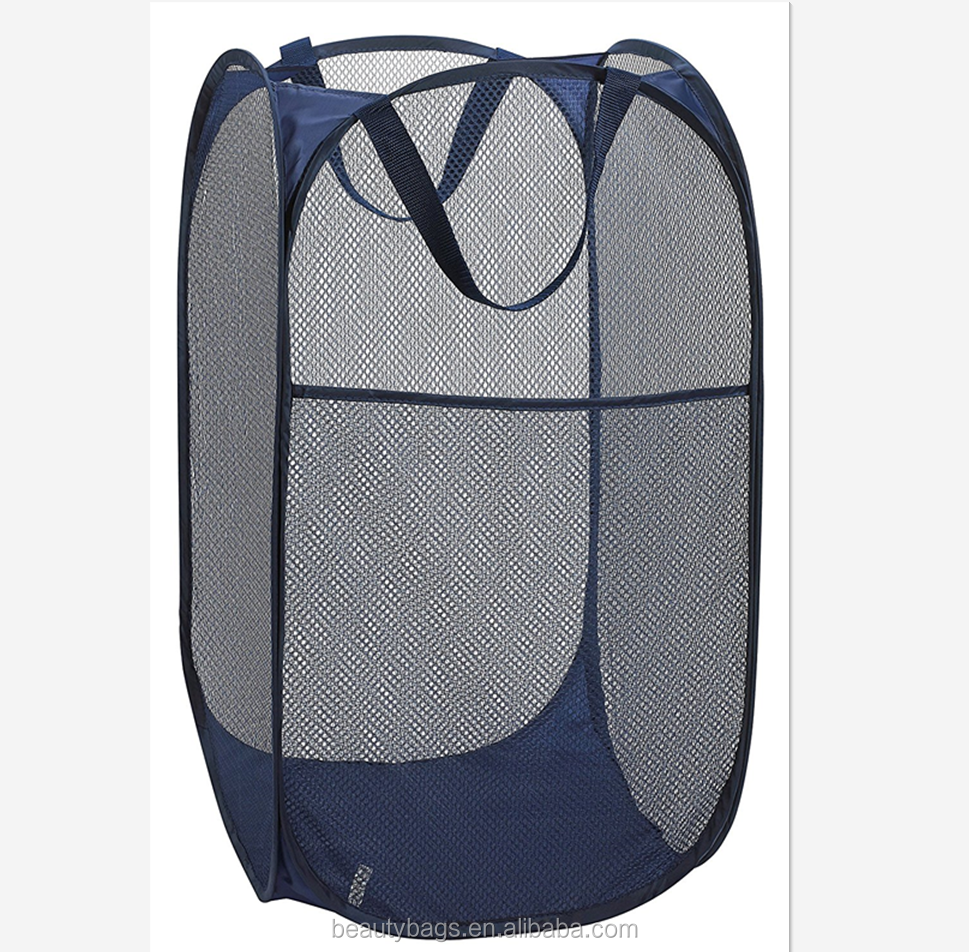"Mesh Pop-Up Laundry Hamper - 14"" x 24"" - Easy to Open and Folds Flat for Storage. Hampers Mesh Material Helps Eliminate Laundry"