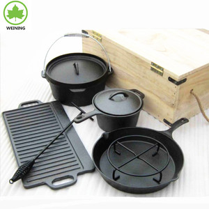 Cast iron camping oven set 7pcs dutch oven cooking set skillet pot pan griddle stand lid lifter