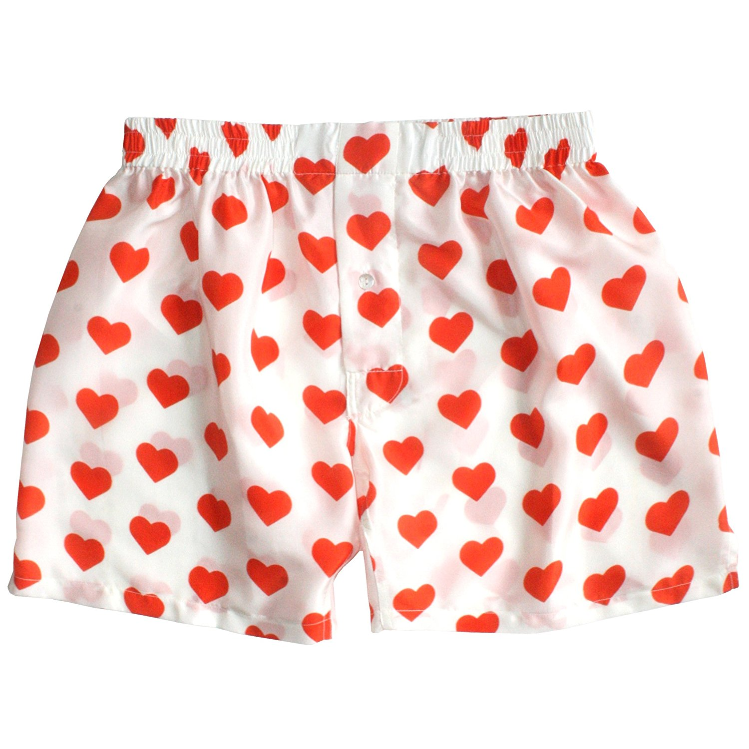 Buy Silk Heart Boxers By Royal Silk Valentines Day Red On White