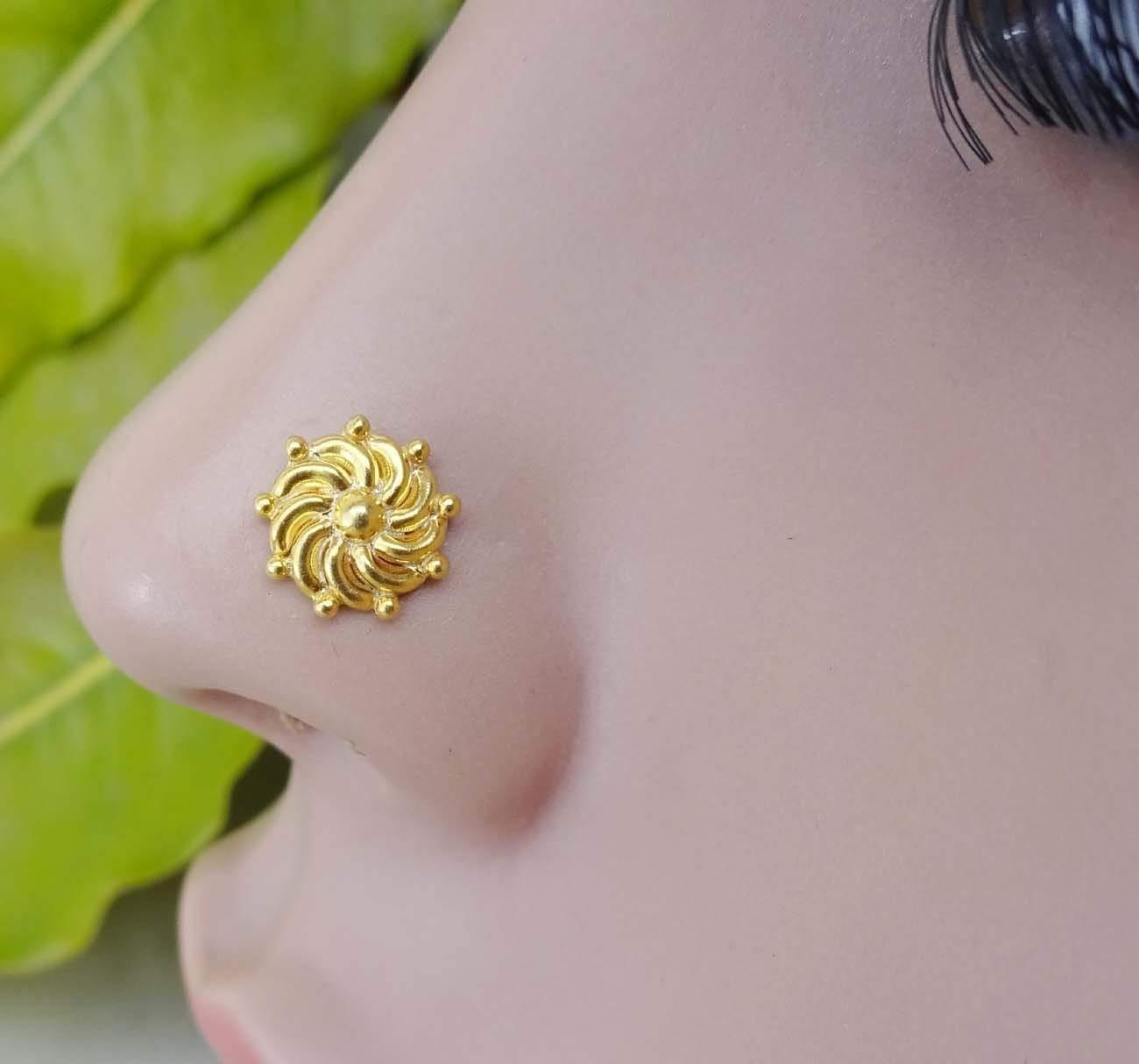 Gold Nose Piercing,Indian Nose Screw,Crock Screw Nose Stud,Indian Nose Stud,925 Sterling Silver nose stud,Gold Nose Screw,Unique Nose Stud,22 G Nose Stud,Gold Nose Pin,Gold Nose Piercing (TEJ073)