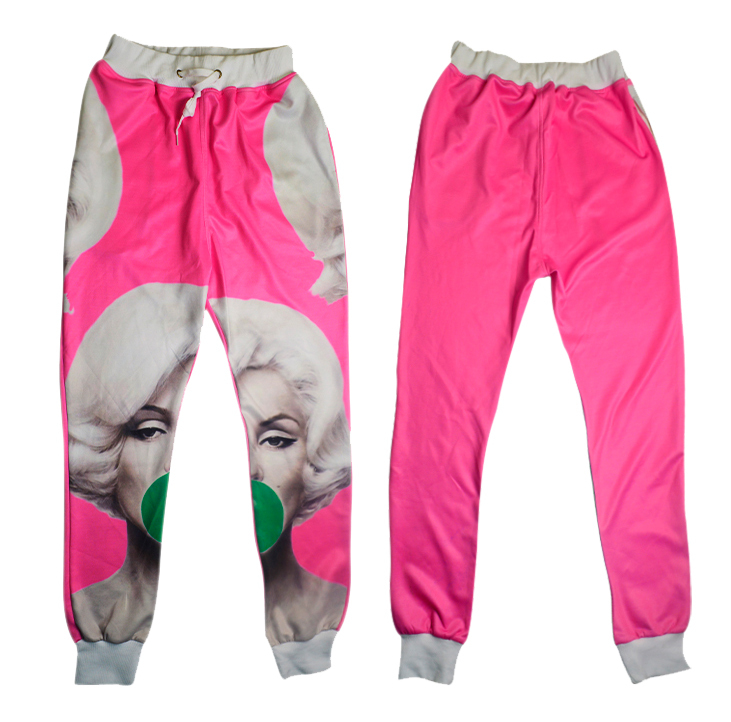 Alisister 2015 autumn pink women/men joggers pants marilyn monroe print 3D jogging sweatpants girl skinny joggers trousers pants