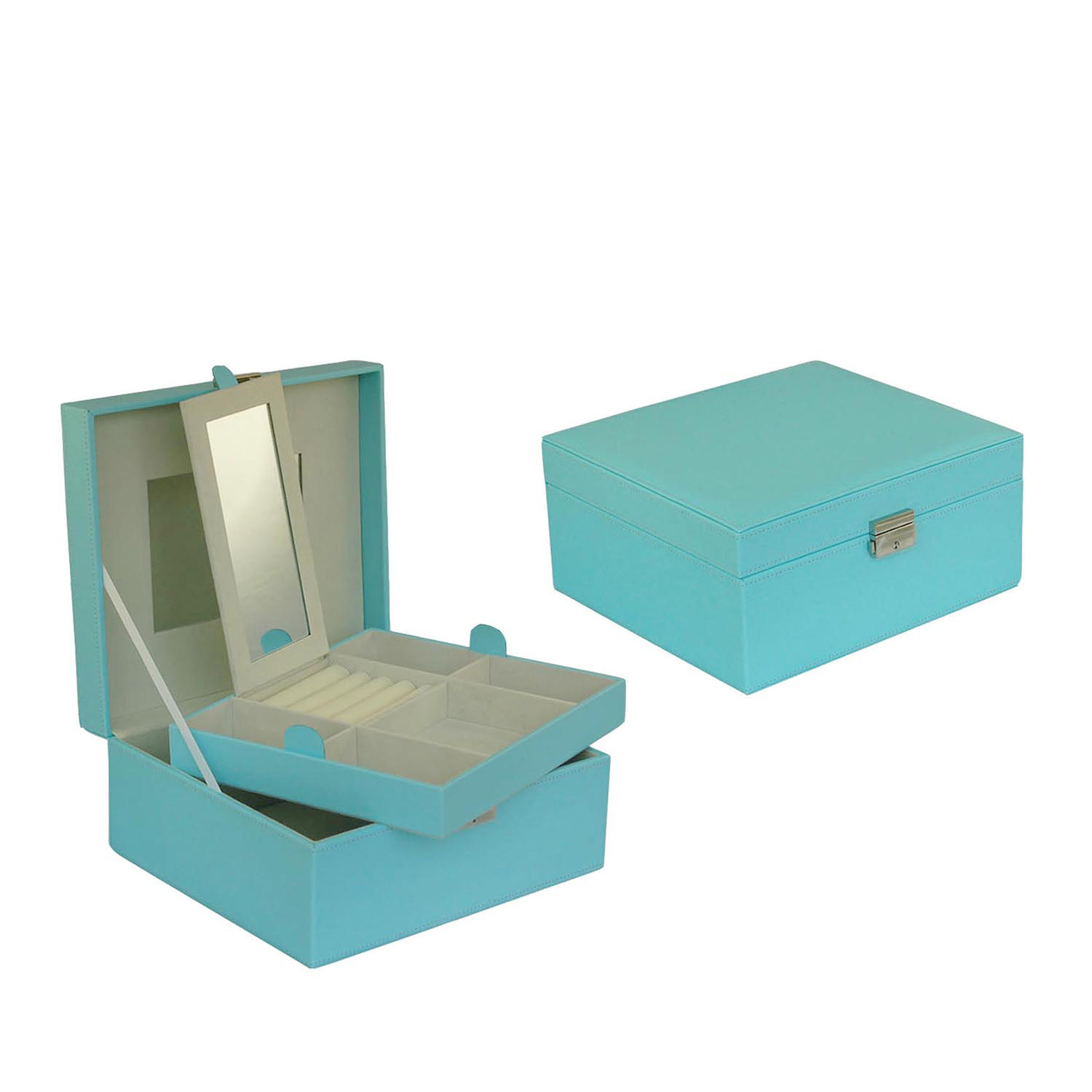 Portable rectangle leather mirror cosmetic gift box with zipper