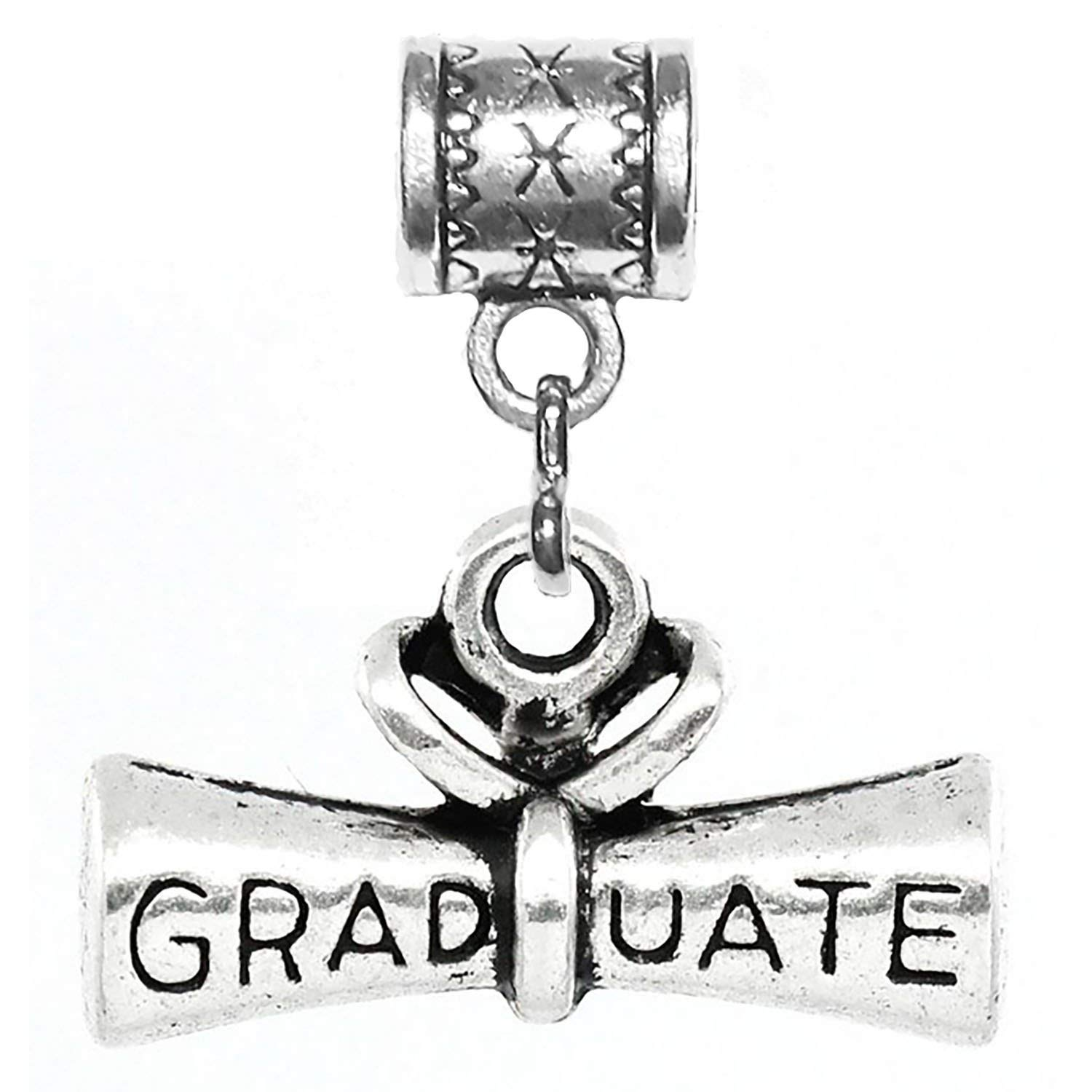 """""""Graduate diploma charm"""" is a Tibetan Silver Hanging charm for large hole style snake chain bracelets, or add to a neck chain, pendant necklace or key chain."""