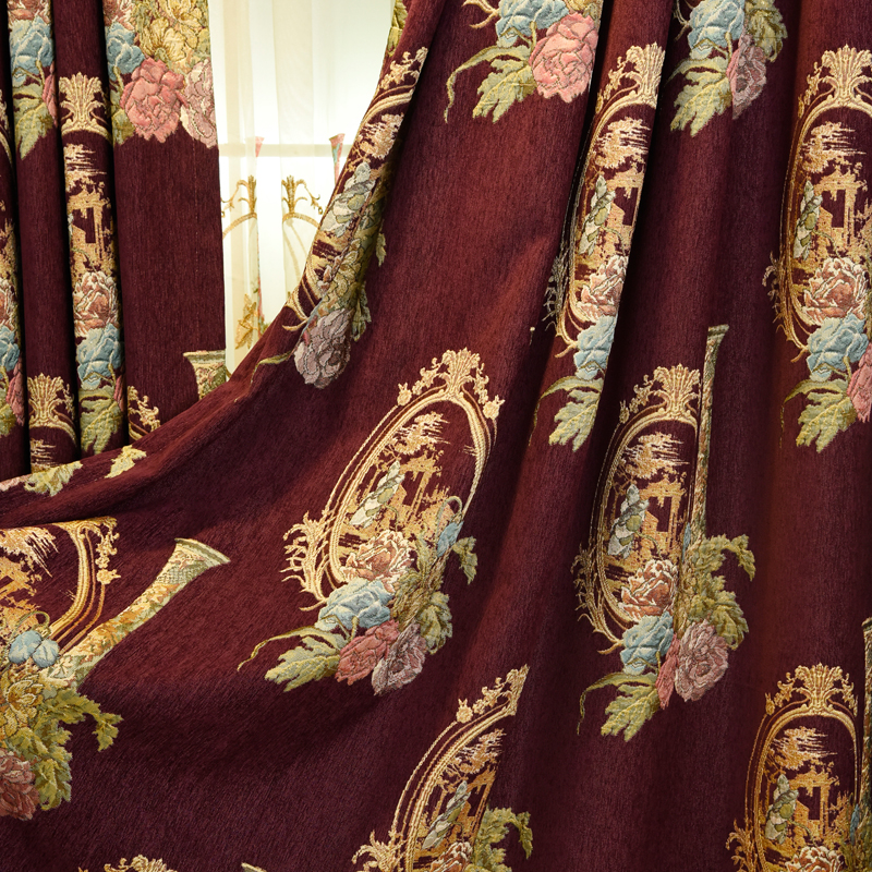 Luxurious european style jacquard embroidery living room window curtain