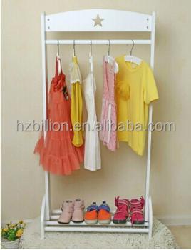 Attractive White Children Wooden Clothes Racks Kids Home Furniture