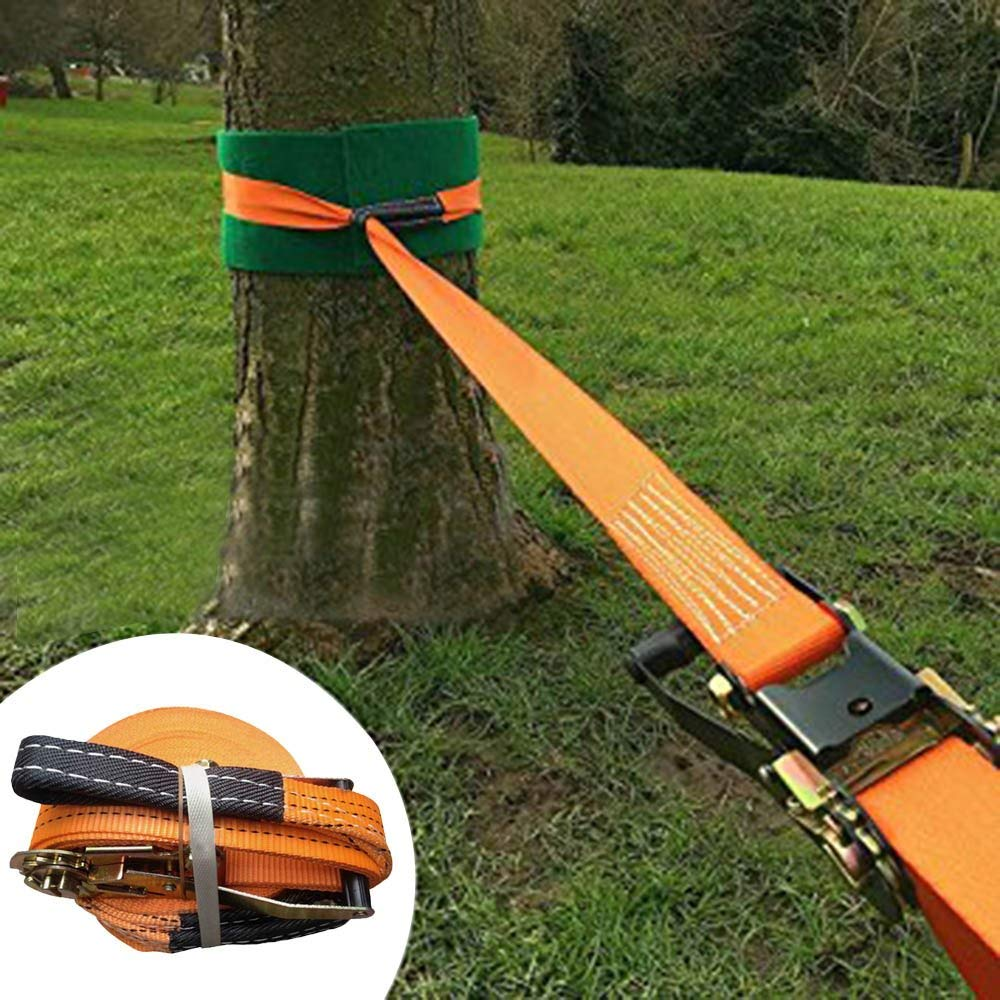 Slackline kit,FOME Slackline Set Slackers Slackline with Super Strong Slackline Ratchet Nylon Beginner Slackline 49ftx1.96in(Orange)