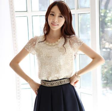 Elegant design lady tops short sleeve t-shirt fashion western ladies new blouse fancy lace shirt