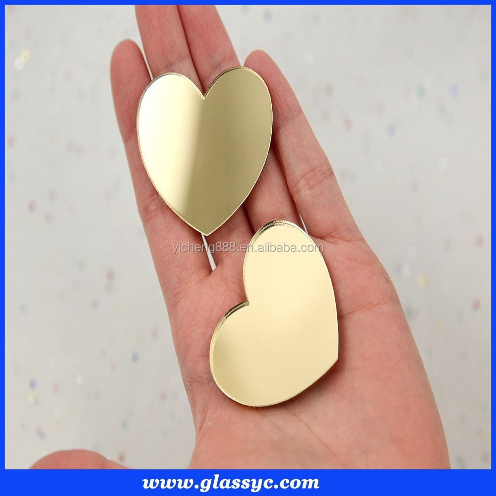 Custom design heart shaped handheld mirror
