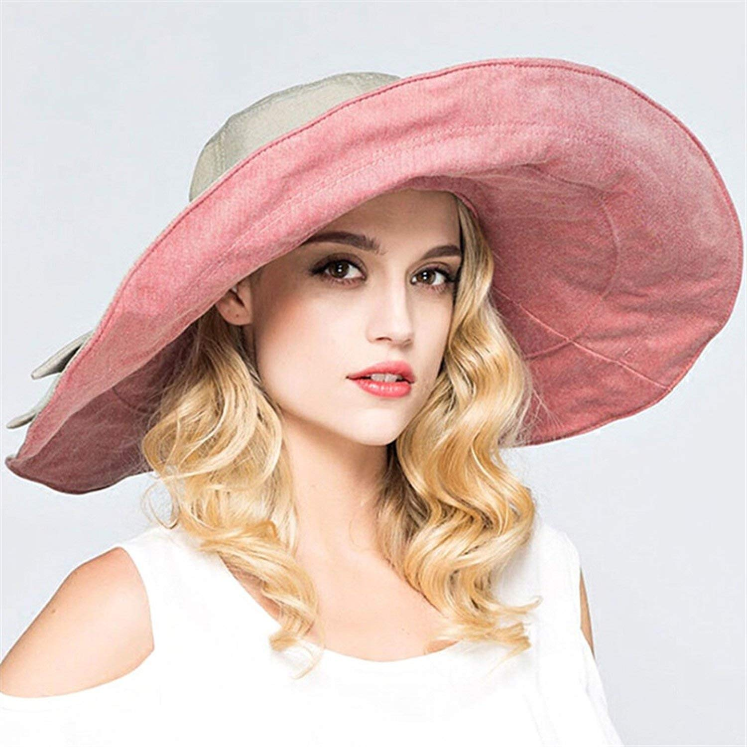 a664b10d88f Romantic moments Women s Beach Sun Hats Reversible Summer Superlarge Brim  England Style Sun Hat