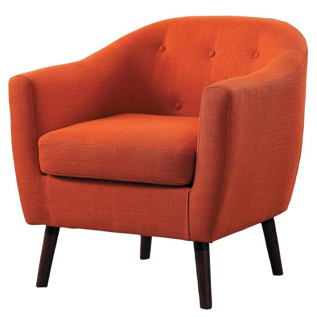 Burnt Orange Accent Chair With Exposed Black Frame And Tufted: Cheap Accent Chair Fabric, Find Accent Chair Fabric Deals