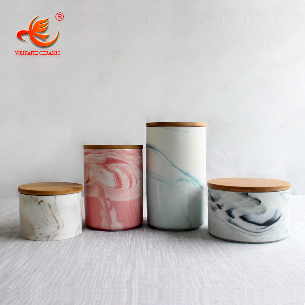 WKTSJ01 marble style jar decorative kitchen with wooden lid food coffee porcelain storage jar ceramic canister marble sets