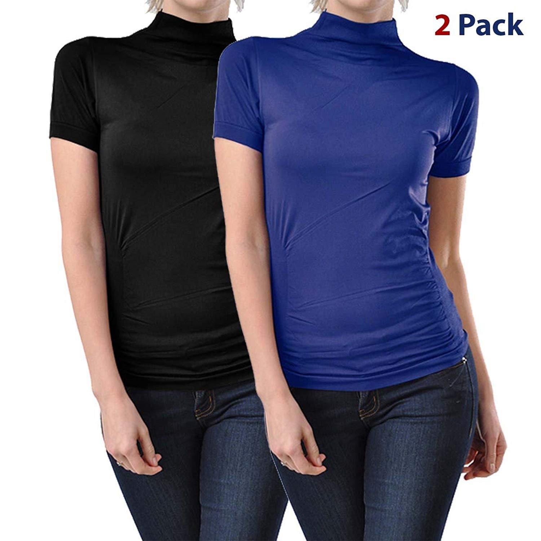 c808dbfdf8944c Get Quotations · 2 Pack Women Seamless Short Sleeve Mock Neck Turtleneck  Blouse Top Tee Shirts