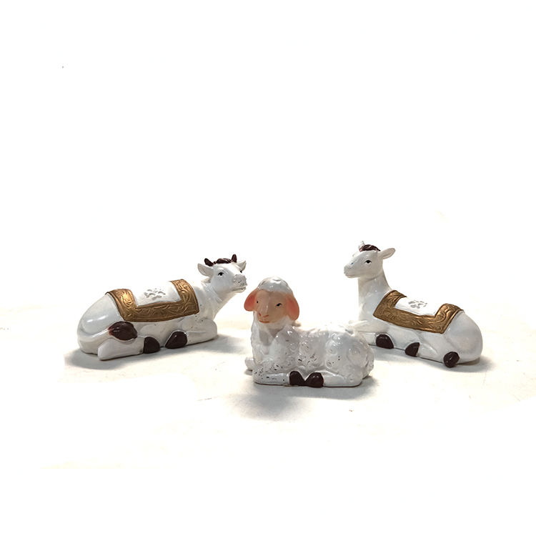 Christmas decoration white polyresin jecus nativity set resin figurines scene decor