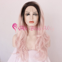 "Cheap 22"" Long Wavy Fashion Two Tone Color Dark Roots Ombre Pink Heat Resistant Synthetic Fiber Hair Lace Front Wigs for Women"