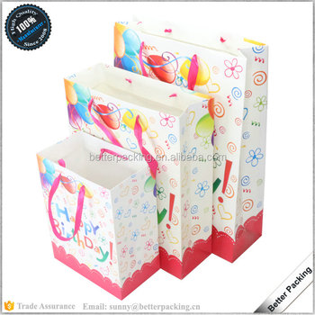 Wholesale Cmyk Printed Happy Birthday Art Paper Gift Bag