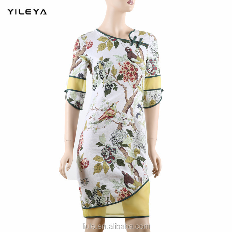 2016 latest YILEYA slim Chinese traditional qipao style fashionable women normal dress