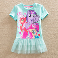 2016 Neat retail New BABY Girls Clothes short Sleeve lace Kids dresses My little pony dress