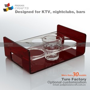 Customized Acrylic glass shelf rack whiskey spirits wine glass holders-wine cup holder curling rock shot glass holder