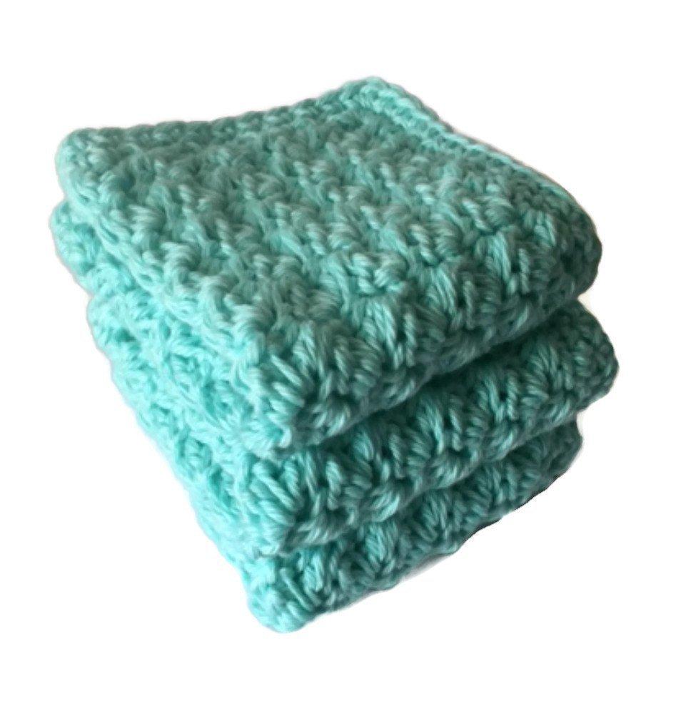 Handmade Kitchen Dish Cloths Aqua Turquoise Blue Cotton Dishcloths Set of 3 Crochet Washcloths
