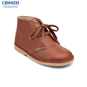 Choozii European Brown Genuine Leather Unisex Children Shoes Kids Desert Winter Ankle Boots with Crepe Outsole