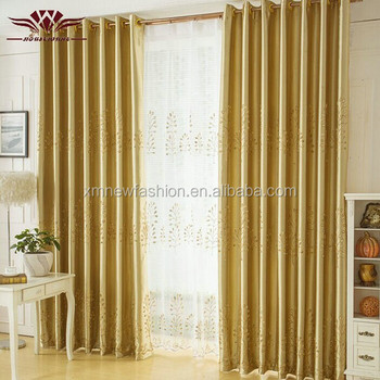 Luxury Blackout Gold Pachira Model Living Room Window Curtain Treatment