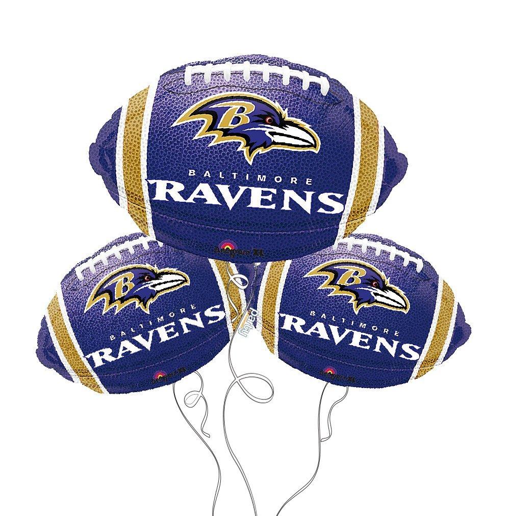 Baltimore Ravens NFL Football Mylar Balloon - 3 Pack