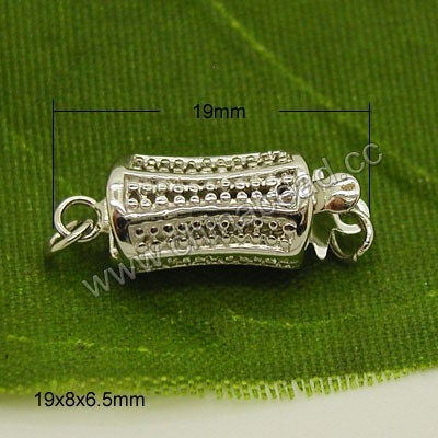 Wholesale sterling silver 925 box clasp in silver plating, Rectangle shape