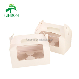 custom size white square double pieces PVC window handled paper muffin boxes packaging cake boxes with insertion