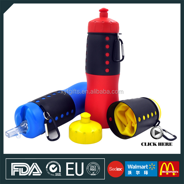 bpa free outdoor pots 22 oz foldable water bottle 650ml collapsible plastic bottle