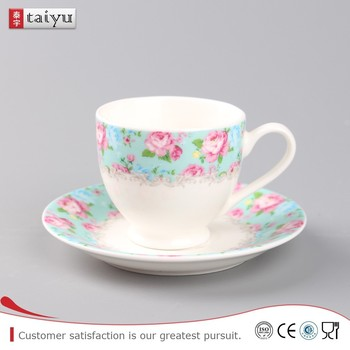 Wholesale White Porcelain Custom Printed Ceramic Tea Cups And