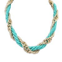 Very fantasy jewelry fashion thin gold chain necklace designs blue cheap plastic bead necklace PN1906