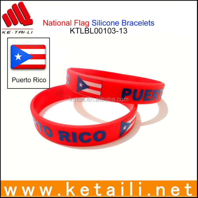 China Factory Custom Differents Country Flags Silicone Bracelet ...