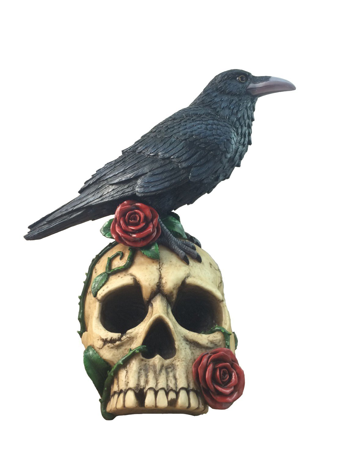 Decorative Gothic Raven On Skull Rose Collectible Figurine By DWK | Crow Bird Skeleton Statue And Sculpture