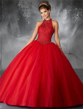 New 2018 Halter Neck Dark Red Quinceanera Dresses With Keyhole Back Bling Beading Ball Gown Sweet 16 Dress Nbw13 Buy Dark Red Quinceanera