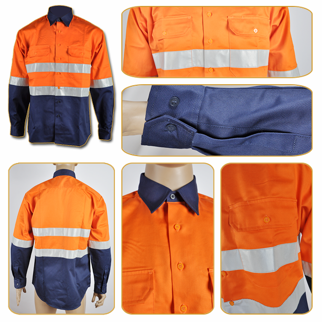 High Visibility Hi Vis Safety Reflective Work Button Shirts