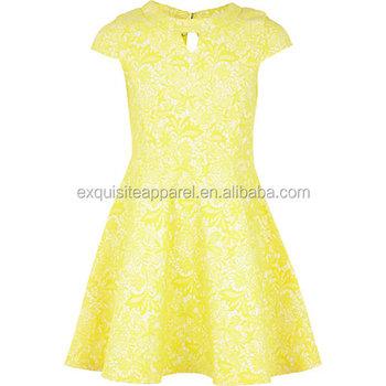 162591cbd7b2 Teenager Girls Short Sleeve Yellow Lace Skater Dress , Kids Flower Girl  Dresses