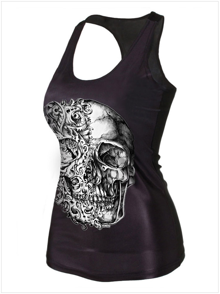 76178bfe9 Get Quotations · 2015 summer style sexy black fashion gothic women shirts  Vest tank top tees cropped 3D print