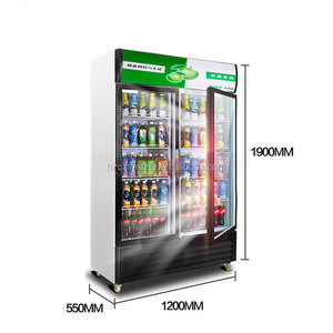 270L Electrical Control commercial Double Door Refrigerator vertical display fridge