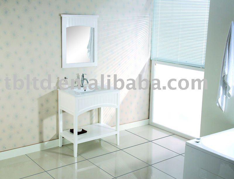 Blanco de alto brillo de madera maciza muebles de ba o - Muebles altos de bano ...