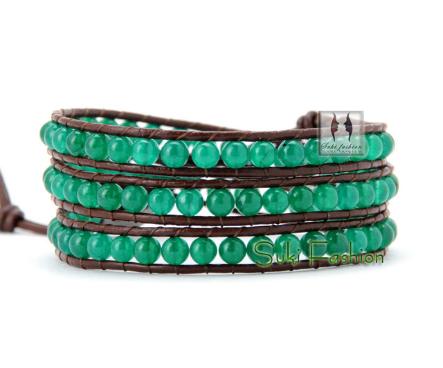 Quality Handmade Green Jade Wrap Bracelet Friendship Bracelet Hot Sale Bracelets for couples