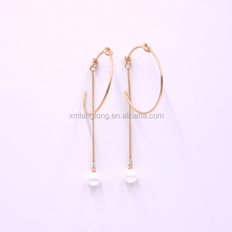 C shaped stud earring, light weight gold earring with white pearls