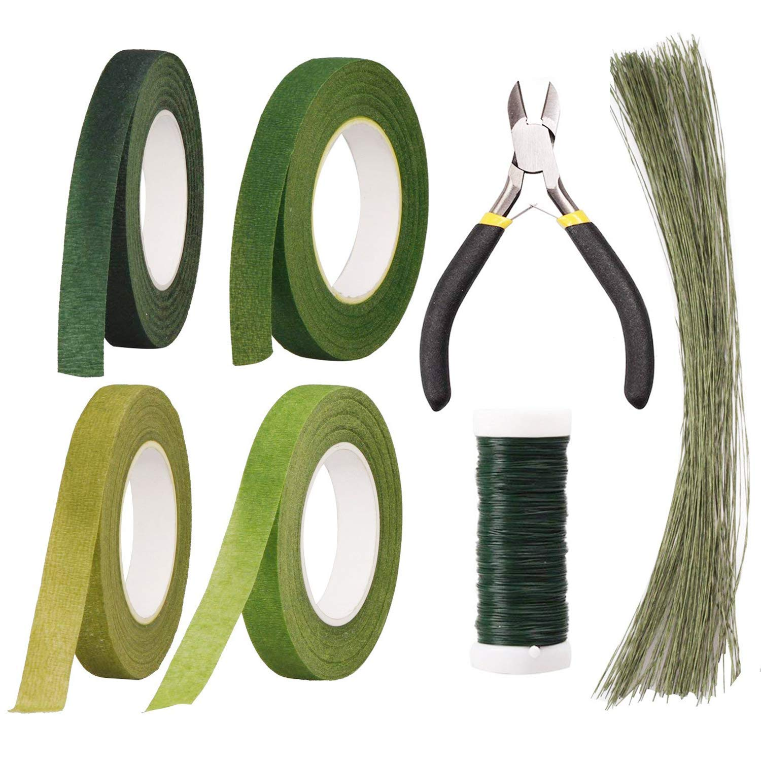 Floral Arrangement Kit Floral Tools Wire Cutter,4 Rolls Green Floral Tape,1 Pcs Floral Tools Wire Cutter,150Pcs 30Gauge Floral Stem Wire,0.4MM Floral Stem Wire