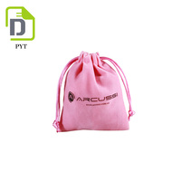 2017 Customized size pink velvet jewelry bag with logo printing