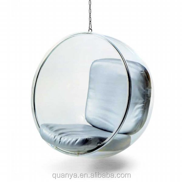 creative furniture acrylic bubble hanging chair with cushion