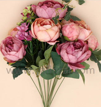 Villahotelcorridor Decoration Peony Silk Flower Oil Painting With