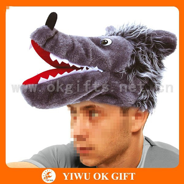 Plush timber wolf hat, faux fur wolf head hood hat