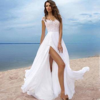 Zh0045r 2019 Spring Summer Beach A Line Wedding Dresses Side Slit Sheer O Neck Cap Sleeves Floor Length Bridal Gown Buy Bridal Gown 2019 Wedding