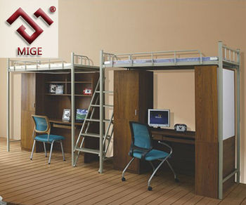Double Cabinet And Desk Bookshelf Military Metal Bunk Beds